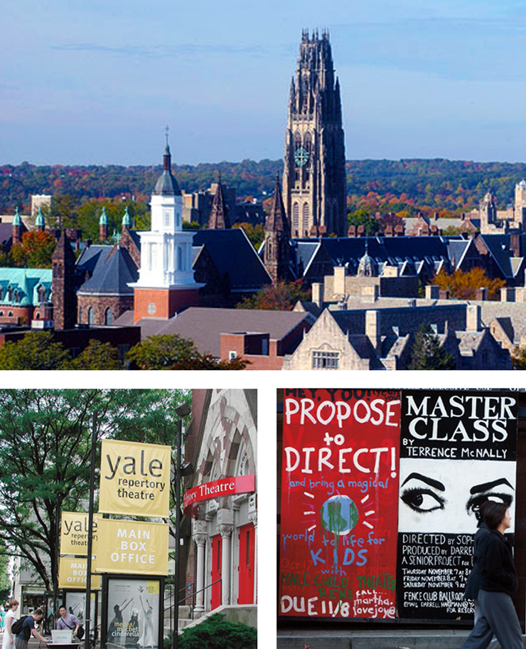 Collage of Yale campus photos.